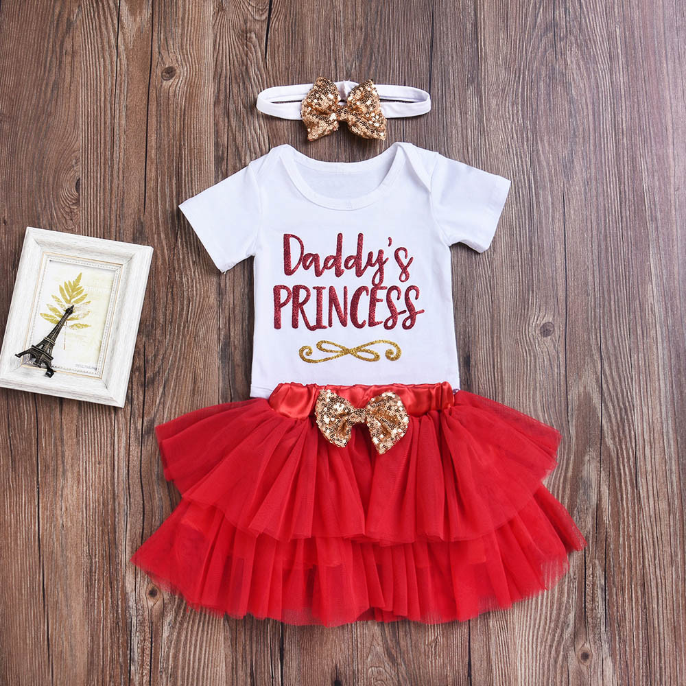 2018 brand MUQGEW hot sale 3Pcs Newborn Infant Baby Girls Letter Romper O-Neck Short Sleeve Tops+Skirt Outfits Set menina de