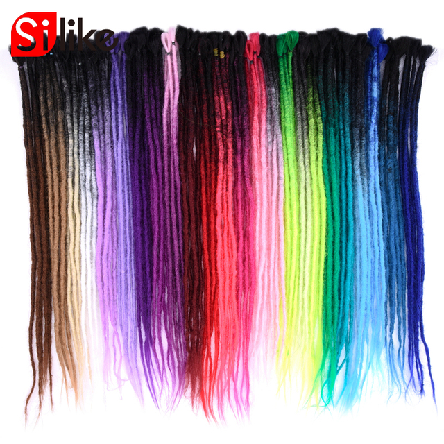 Silike 24 inch Handmade Dreadlocks Hair Extensions Pink Blue Ombre Crochet Hair 5 Strands Synthetic Crochet Braid Hair For Women