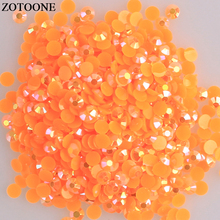 ZOTOONE Non Hotfix Crystals Applique Nail Face Rhinestones Flatback Round Resin Gems 3D Decoration Stones For DIY Jewelry E