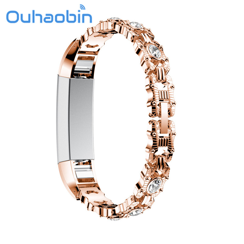 Ouhaobin 135-225mm Stainless Steel Replacement Watch Band Wrist strap For Fitbit Alta HR Smart Watch L
