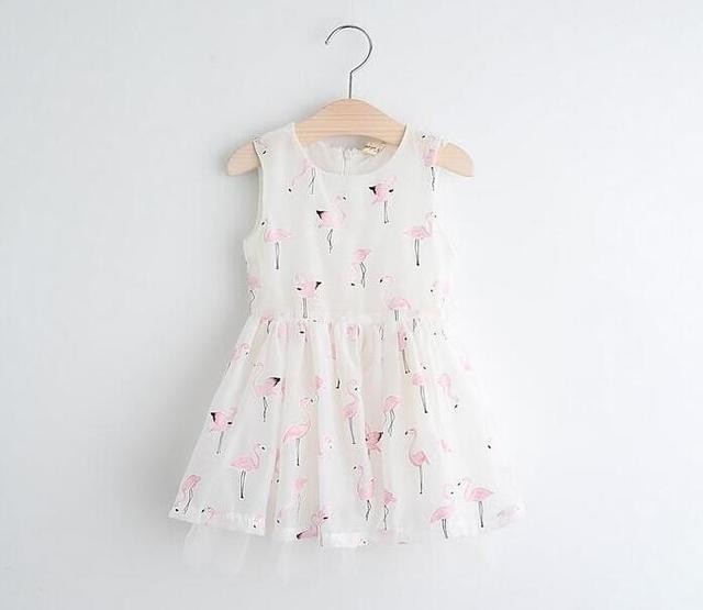 YP61256033 Retail 2017 New Summer Fashion Girls Dresses Birds Print Animal Girl Princess Dress Girl Clothes Lolita