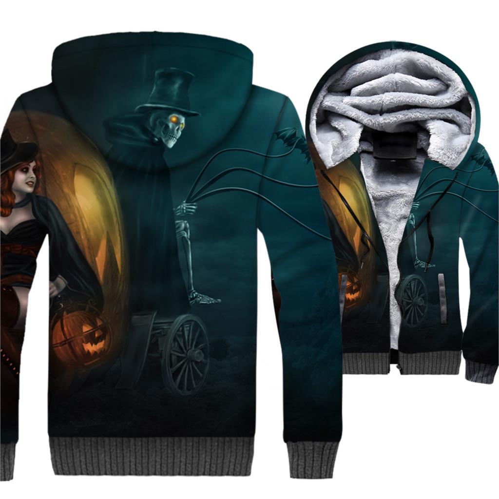 Skull Hoodies Men All Saints' Day Jackets Halloween Funny Sweatshirts Winter Thick Fleece Warm 3D Coat Swag Hip Hop Sportswear