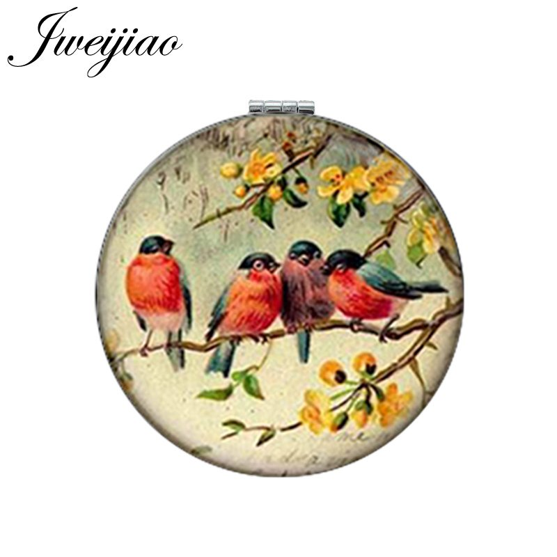 JWEIJIAO Art Picture Birds On Branch Round Makeup Mirror PU Leather Mini Folding Compact 1X/2X Magnifying Lay's Pocket Mirror(China)