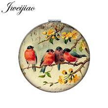 Jweijiao arte imagem aves no ramo redondo espelho de maquiagem couro do plutônio mini dobrável compacto 1x/2x ampliação lay bolso espelho