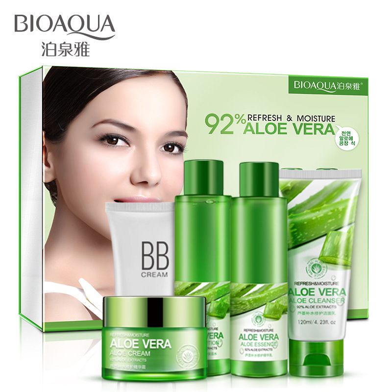 BIOAQUA Aloe Vera Beauty Care Skin Whitening Repairing, Moisturizing , Cleansing Pores Anti Acne Skin Care Set