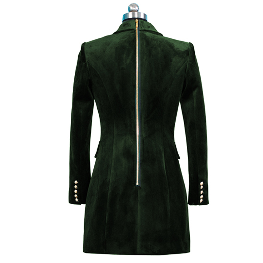 2018 Fashion Back Zipper Velvet Blazer Jackets Women Long Sleeve Double Breasted Slim Female Jackets Casual Ladies Office Coat