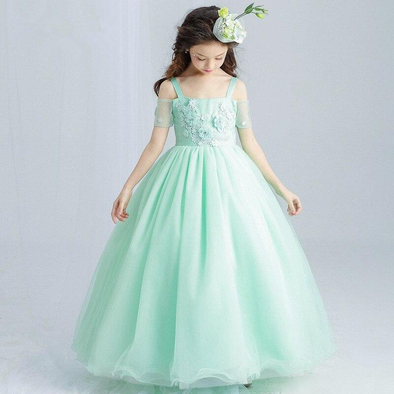 Party Fancy Long Girls Dress Appliques Green Flower Girl