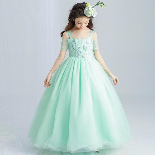 85fcc7be8306 Party Fancy Long Girls Dress Appliques Green Flower Girl Vestido Wedding  2018 Girl Clothes 4 6