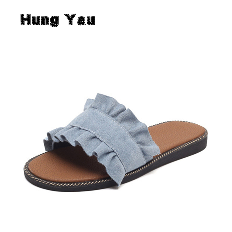 Hung Yau Women's Slippers Beach Sandals Women Comfortable Wedge Slides Summer Style Denim Shoes 2018 Sweet Flats Casual Shoes boys girls antislip usb sandals summer cut out comfortable flats beach sandals kids children breathable led shoes with light
