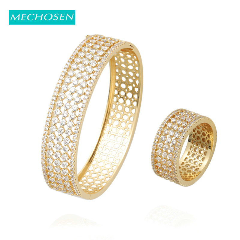 Mechosen Gold Color Luxury Round Hollow Out AAA Cubic Zircon Big Bangle Ring Set Women Wedding Dubai Bride Accessories Best Gift