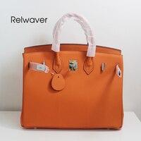 Relwaver 35 см Натуральная кожа большая сумка Классическая женские сумки натуральная кожа серый orange синий красный черные женские кожаные сумки