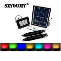 SZYOUMY New 20LED Remote controlled discoloration solar powered solar flood lights outdoor wall light waterproof for garden