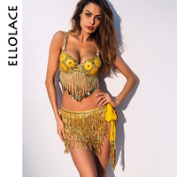 Ellolace Belly Dance Costumes Skirt Tassel Tribal Belt Sequins Bra Crop Top Skirts Bodycon 2018 Nightclub Party Dresses Vestidos