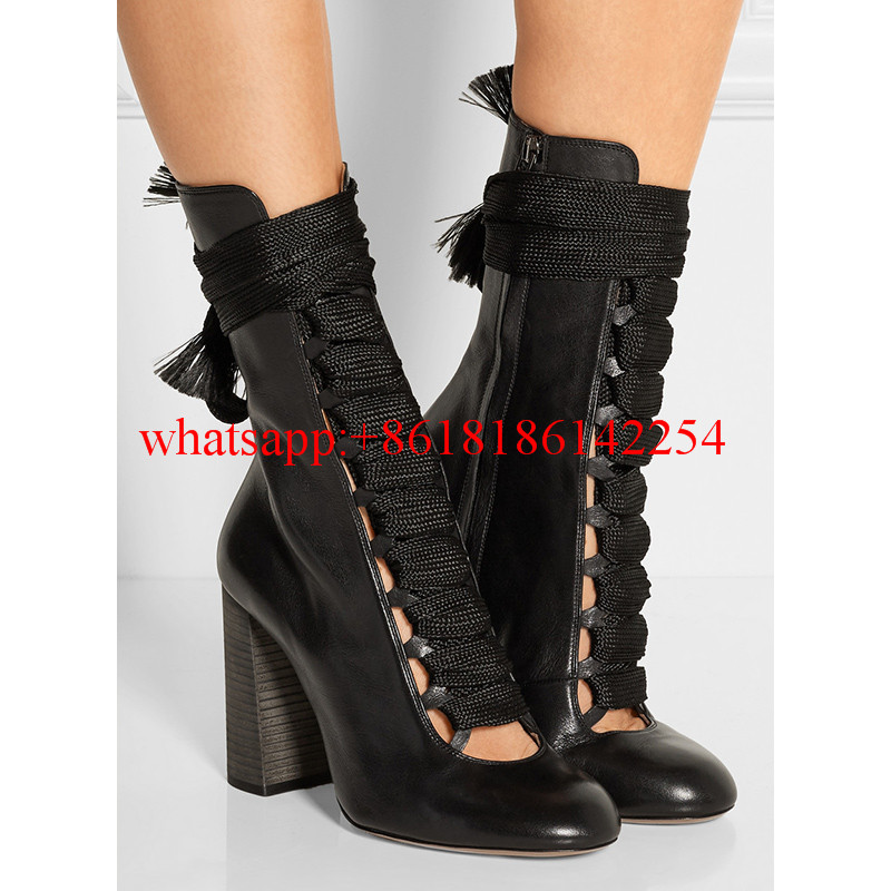 2016 Autumn and Winter Leather Boots Female High-heeled Strap Boots Fashion Round Toe Women Mid-calf Boots Botas Mujer