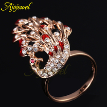 2014 New Arrival  Rose Gold Plated Red & Black Enamel Crystal Peacock Rhinestones Ring Animals For Women