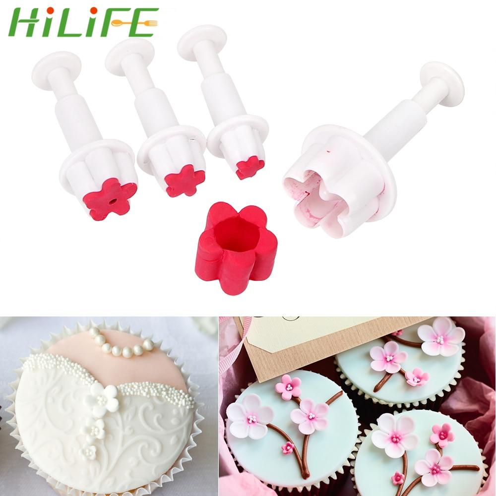 Hililfe 4pcs Set Fondant Plunger Diy Cutters Flower Sets Cake