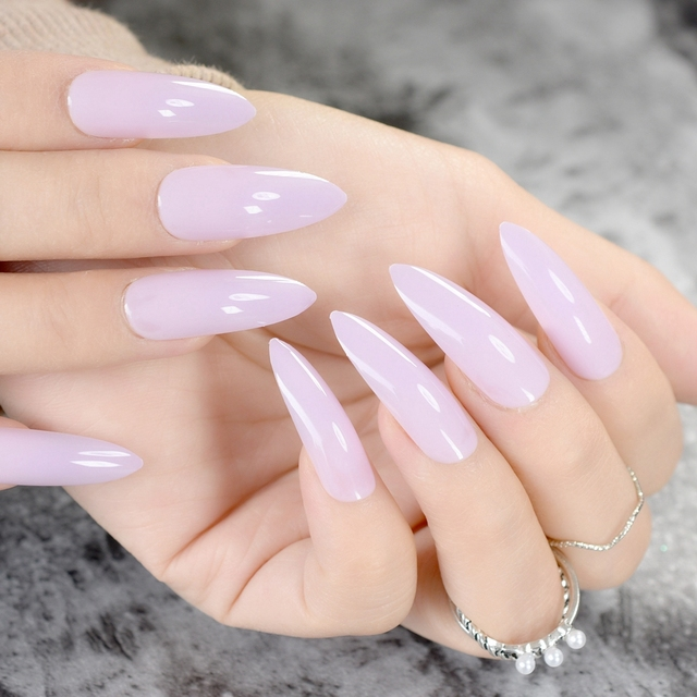 24Pcs Candy Light Purple Pointed False Nail Long Stiletto Nails DIY ...