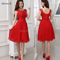 Chiffon Red Short Bridesmaid Dresses Beading A-Line Off the Shoulder Sleeveless 2017 Customize Plus Size vestido madrinha Cheap
