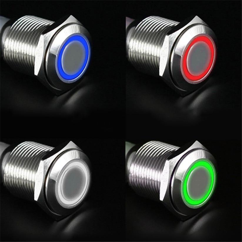 Автомобиль-Стайлинг carprie переключатели 12 В 16 мм светодиодный Мощность кнопочный переключатель Серебряный Алюминий фиксации td0409 челнока