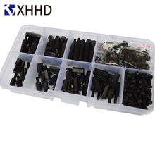 M2.5 Black Hex Nylon Column Male Female Standoff Pillar Thread Plastic Hexagon PCB Motherboard Spacer Screw Set Assortment Kit m2 brass male female standoff pillar mount threaded pcb motherboard pc computer round spacer hollow bolt screw long nut