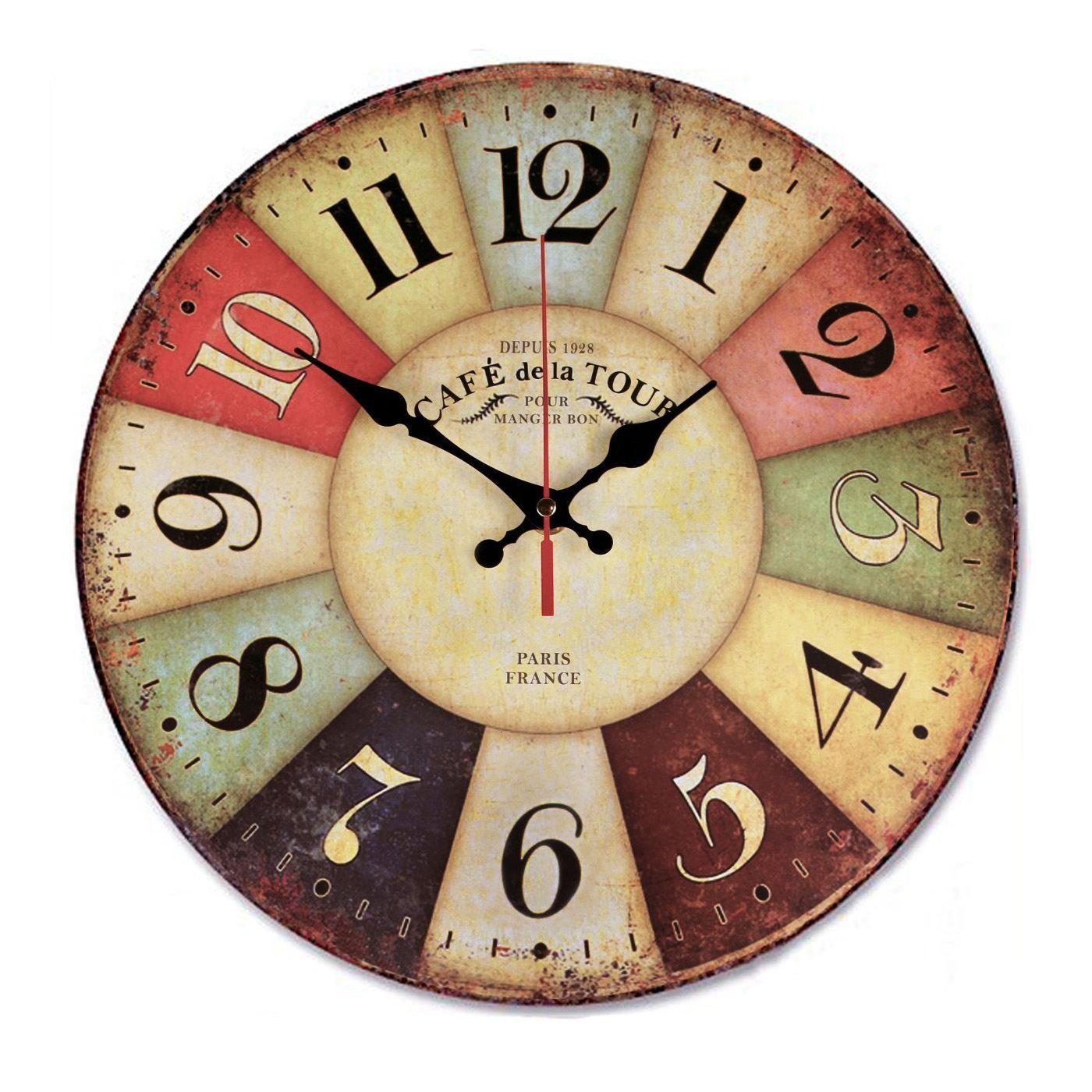 12 Inch Retro Wooden Wall Clock Farmhouse Decor, Silent Non Ticking Wall Clocks Large Decorative - Big Wood Atomic Analog Batt