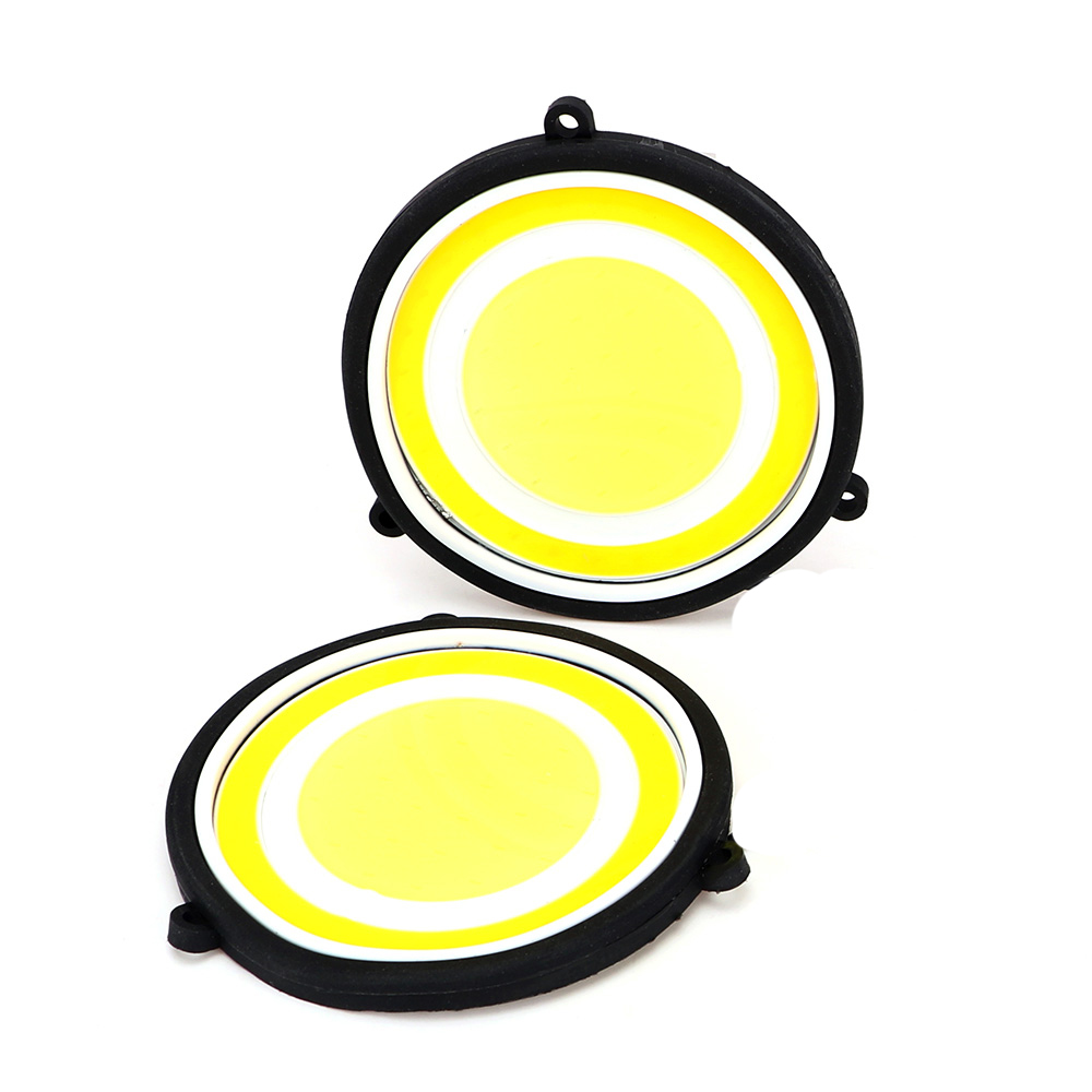 2PCS Round LED Car DRL Daytime Running Light Bendable Front Fog Lmap Auto Turn Inicators Signal Lamp Car Styling Light Source new 2 pcs car led daytime running light turn signal light flowing yellow steady auto flexible styling strip crystal led bar drl