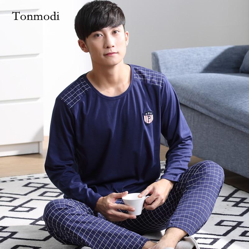 Pajamas For Men Cotton Sleepwea Long sleeves Pyjamas Men Sleep Lounge pajama Set Fashion men's clothing