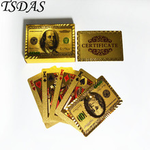 Colored 24kt Luxury Gold Poker Cards with 100 Dollar Style Golden Playing Card 52 Cards & 2 Jokers Novelty Birthday Gift