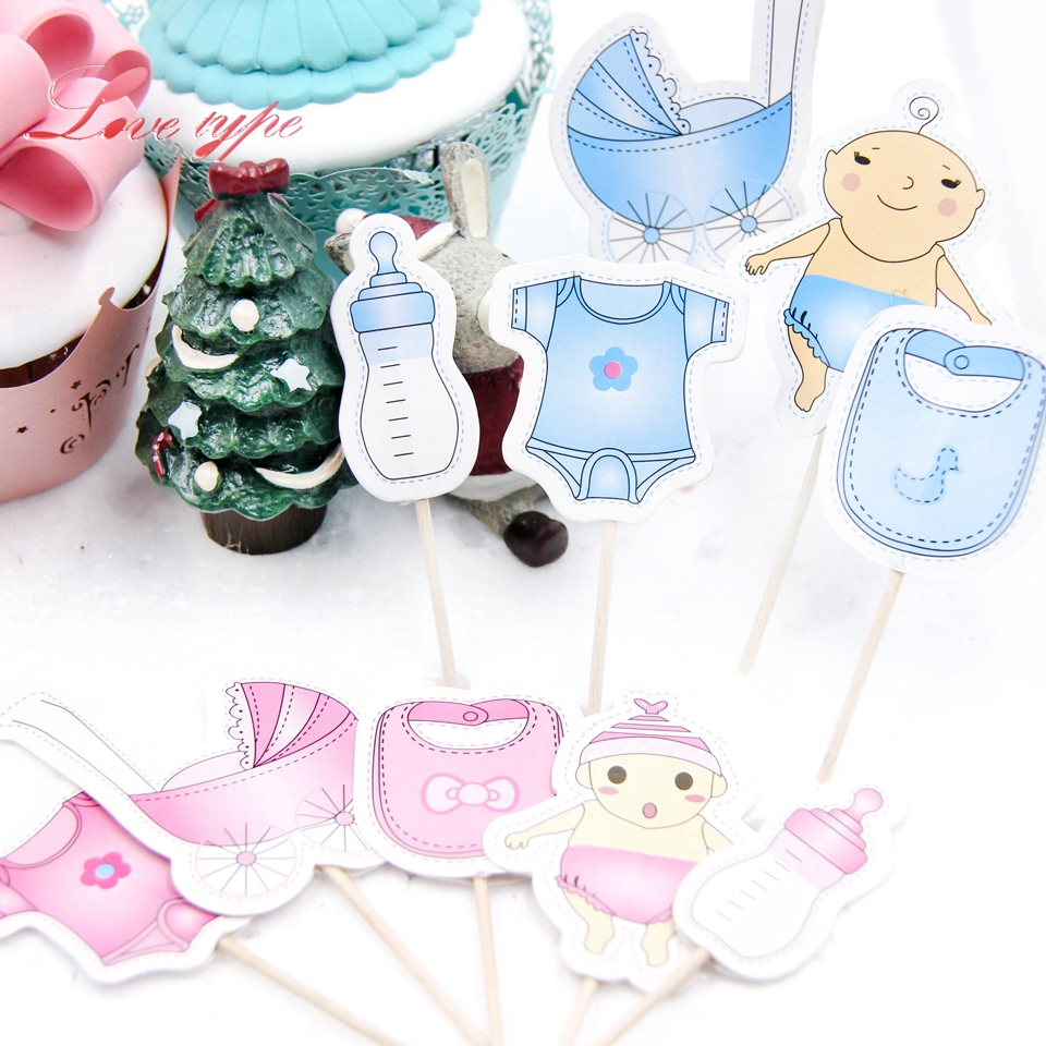 20PCS/1Set Boy&Girl Birthday Party Cupcake Toppers Decoration For Baby Shower Home Birthday Party Cake topper Supplies