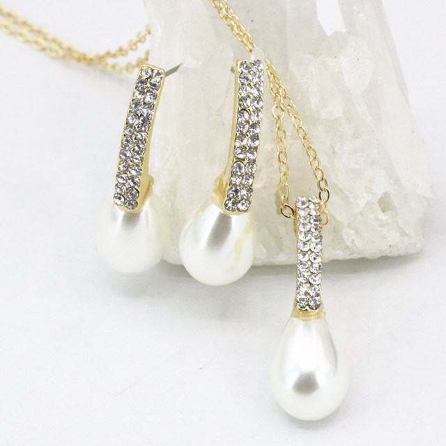 Teardrop Simulated Pearl Pendant Jewelry Set Necklace Earring For Women Prom Gifts Gold Color
