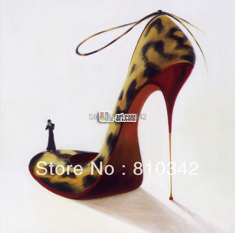 Superior Abstract Oil Painting Canvas Art Leopard Print High Heel Shoe Home