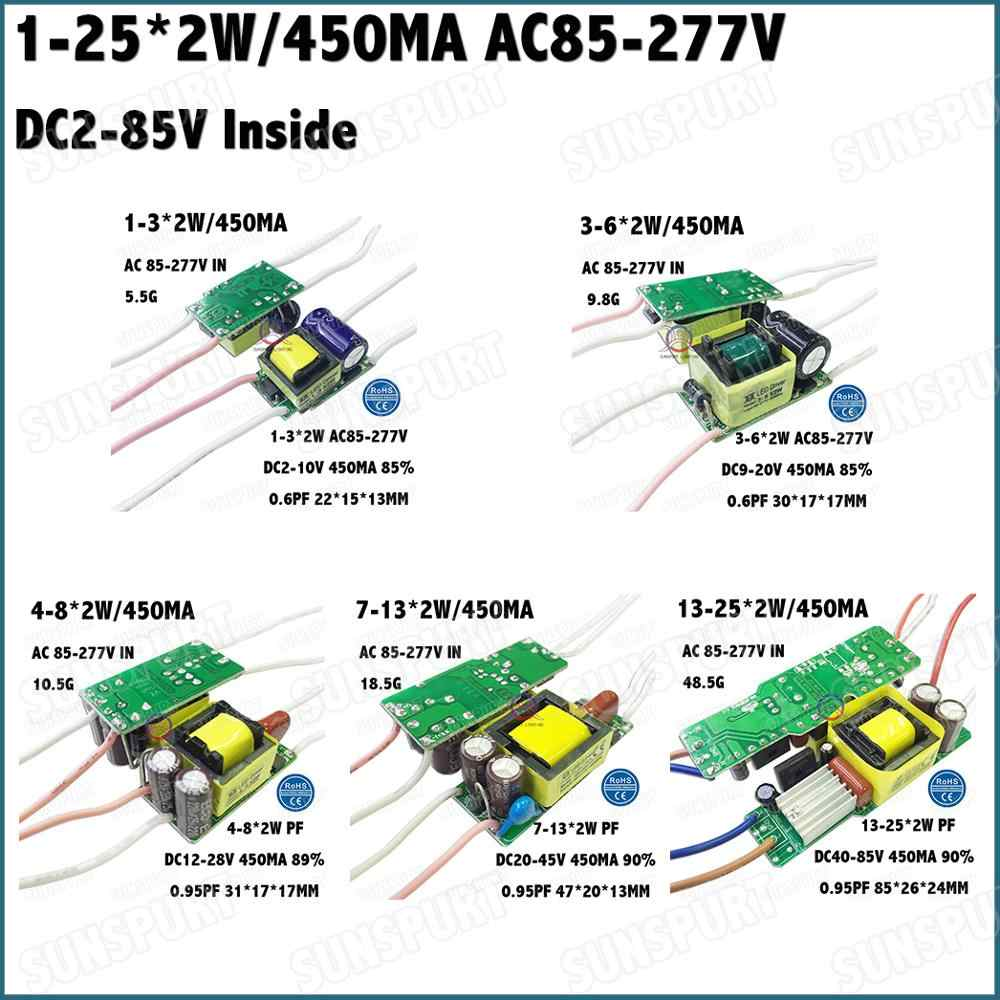 Inside 1-36W Isolation AC85-277V LED Driver 1-3x2W 3-6x2W 4-8x2W 7-13x2W 13-25x2W 450mA DC2-85V Constant Current Free Shipping