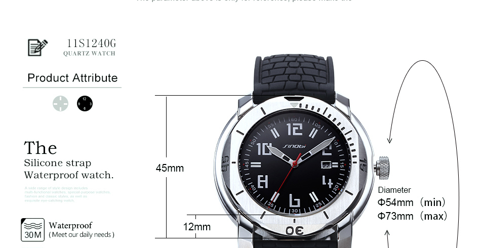 SINOBI Surfing Clock 3Bar Waterproof Watch Mens Sports Wristwatch Designer Branded Chronograph Male Spy Geneva Quartz-watch 007 7