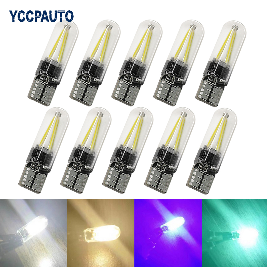 YCCPAUTO 10Pcs T10 194 168 W5W LED Bulbs COB Filament Car Light Auto Side Marker Light License Plate Reading Lamp 12V Glass