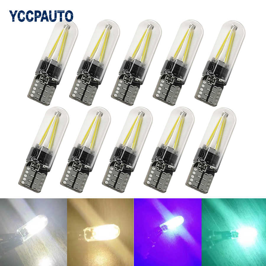 YCCPAUTO 10Pcs T10 194 168 W5W LED Bulbs COB Filament Car Light Auto Side Marker Light License Plate Reading Lamp 12V Glass
