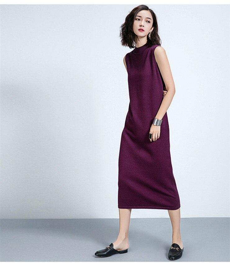 16Women Sweater Dress Sleeveless solid Black camel grey Knitted Dress Female Korea style Long Slim autumn Basic wear wool dress