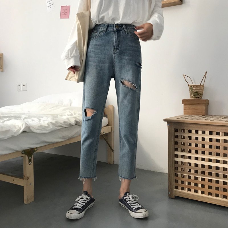 New Korean version of Chic Baitao Street   Jeans   in Spring and Summer of 2019   jeans   woman MW102