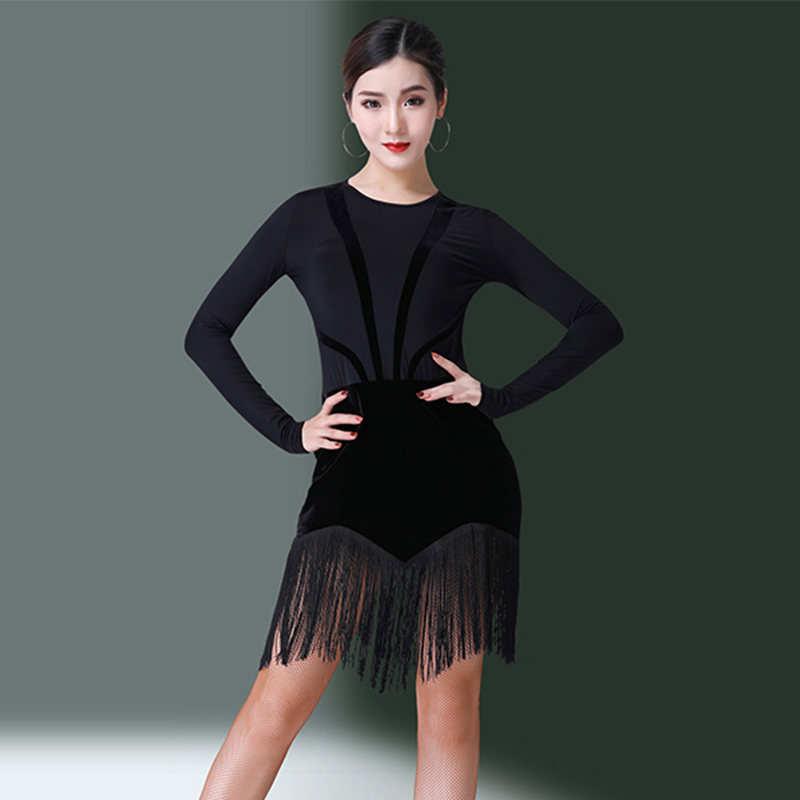 Latin Dance Dress Black Long Sleeve Fringe Skirts Rumba Cha Cha Performance Dancing Clothes Women Latin Practice Wear DN2881
