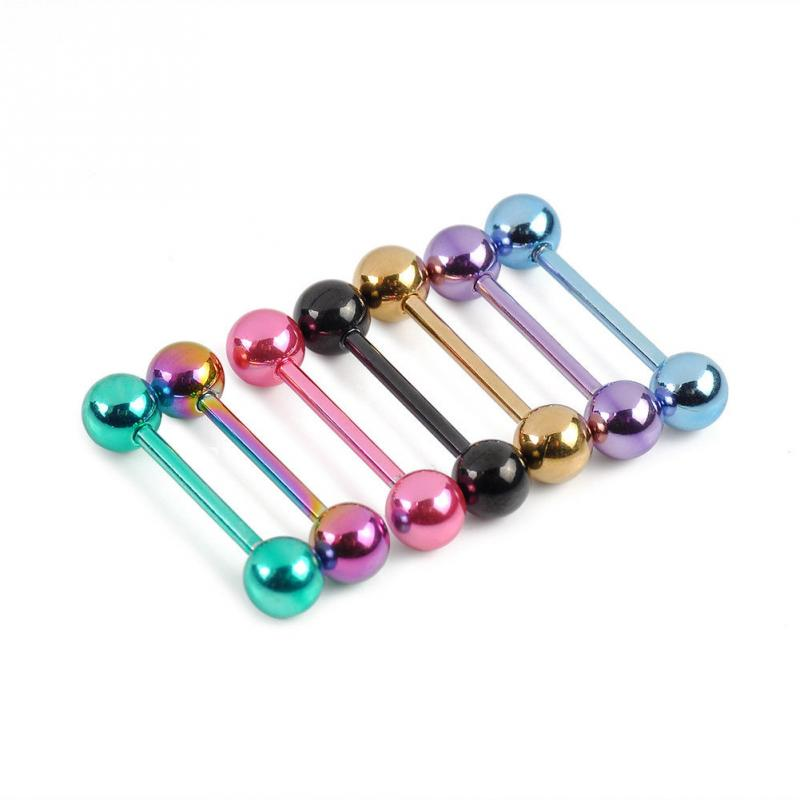 7pcs Plated Stainless Steel Mixed Colors Tounge Rings Piercing Body Jewelry(China)