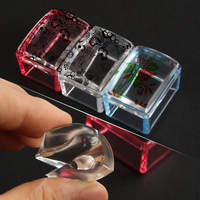 1PC Transparent Rectangle Silicone Jelly Head Nail Stamper and Scraper Manicure DIY Nail Art Tips Stamping Tool Set Nail Art Accessories