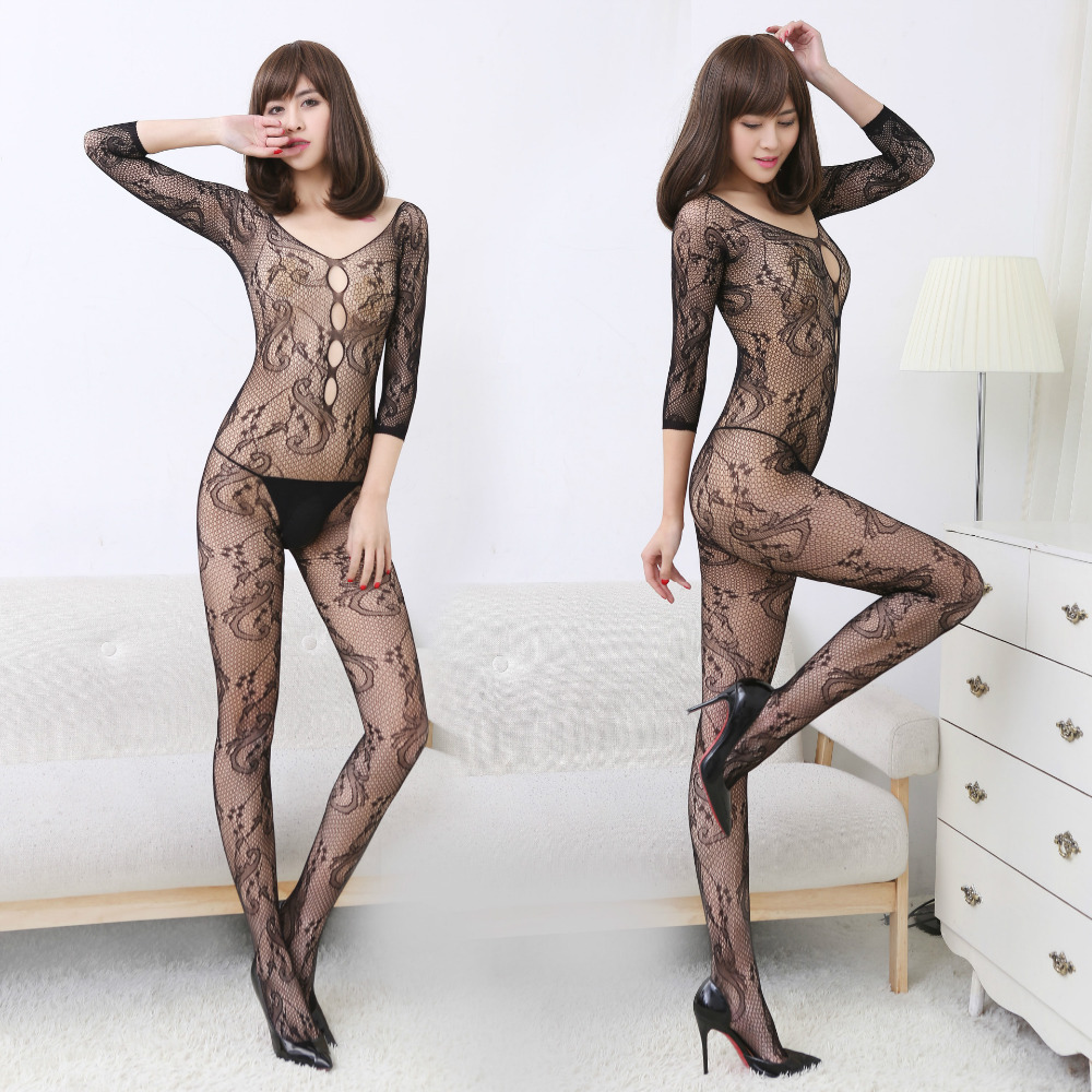 Fantisy Sexy Teddy Bodystockings Long Sleeve Open Crotch Stockings Fishnet Mesh Erotic Bodysuit Sex Lingerie Intimates Lady