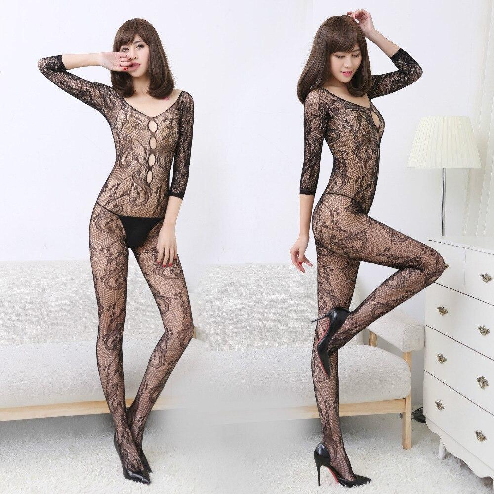 fantisy Sexy Teddy Bodystockings long sleeve Open Crotch Stockings Fishnet Mesh Erotic Bodysuit sex Lingerie Intimates lady