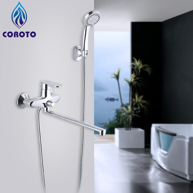 Bathroom Mixer Stainless Steel Long Nose Outlet Brass Shower Faucet Mixer Shower System Tropical Shower Rack With Mixer Copper frap new arrival single handle bathroom mixer 35cm stainless steel long nose outlet brass shower faucet f2281