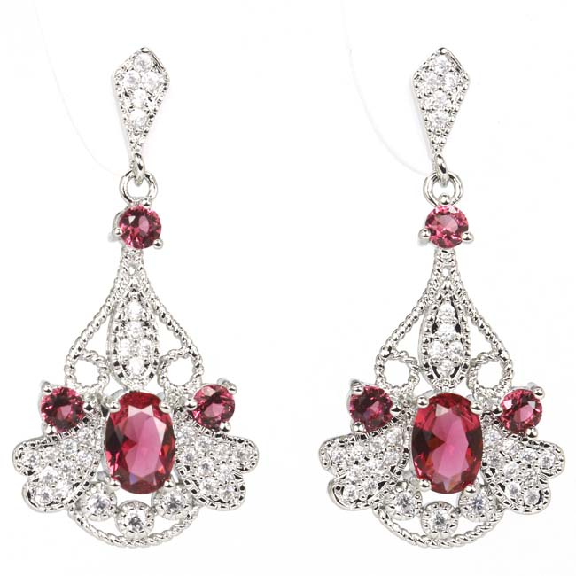 Gorgeous Pink Raspberry Rhodolite Garnes CZ Ladies Party 925 Silver Earrings 35x17mm