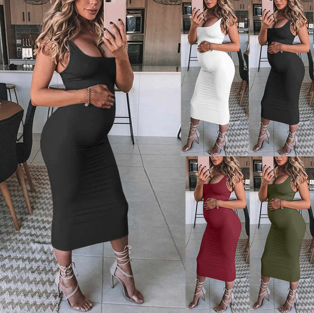 Summer Pregnant Clothes Sexy Dresses Women Solid Pregnant Maternity Maternity Props Bodycon Casual  Long Dresses