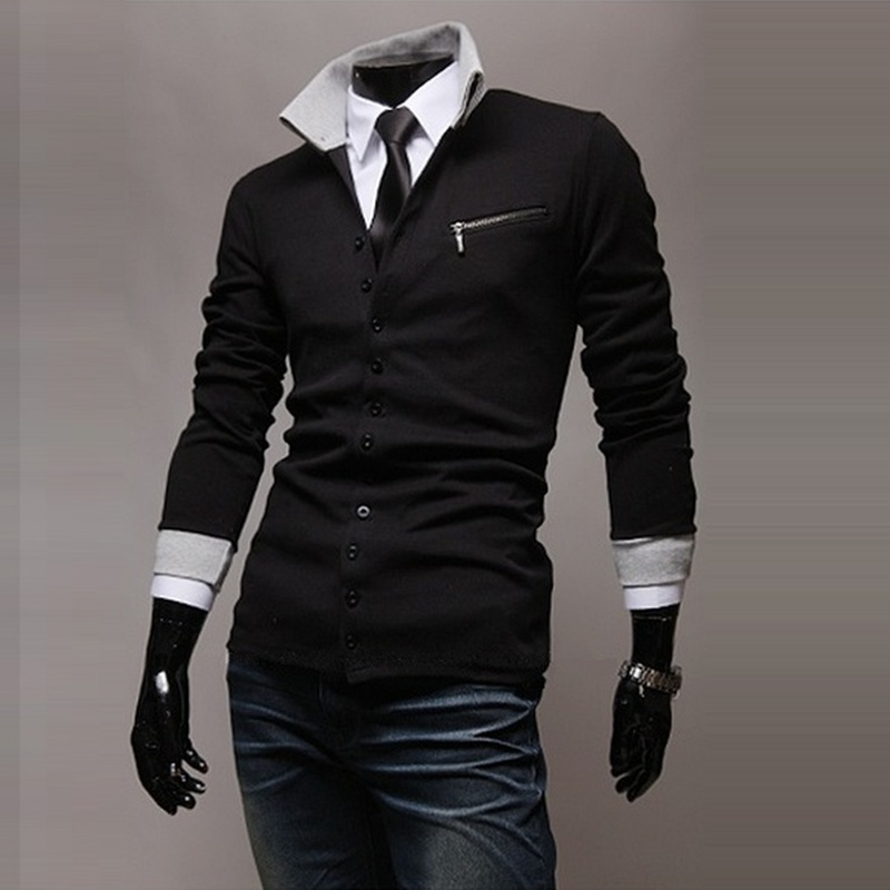 ZOGAA Men Cardigans Casual Slim Fit Thin Style Sweater Long Sleeve Turn-Down Collar Mens Sweater Stripes Single Breasted