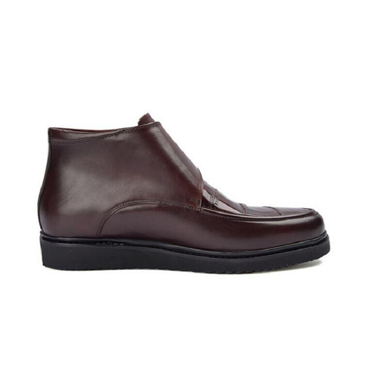 New Arrivals Plana Personalizado Botas Negócios Inverno Redondo Bot Neve Ankle Pé Erkek Heinrich De Do brown 2018 Homens Luxo Black Dedo Boots zqtnEwS