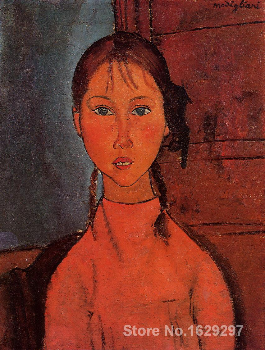 wall art modern Girl with Braids Amedeo Modigliani Paintings Hand painted High qualitywall art modern Girl with Braids Amedeo Modigliani Paintings Hand painted High quality