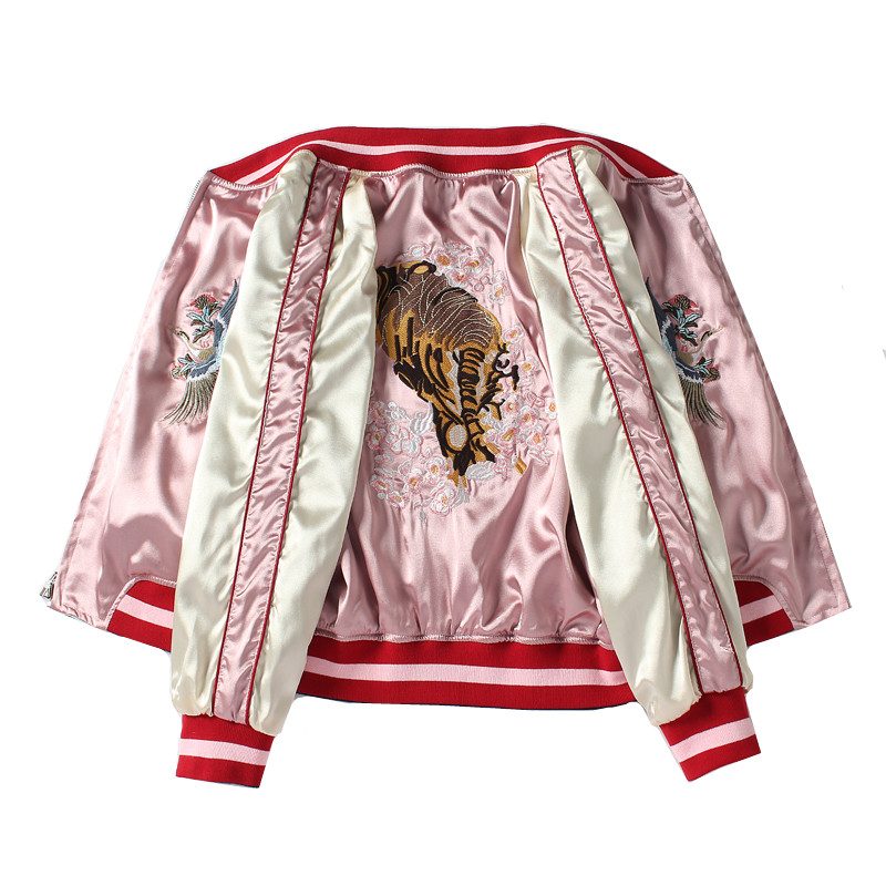 Pink Embroidered Baseball <font><b>Jacket</b></font> Womens and Mens Double-sided Wearing 2019 Popular Short <font><b>Jacket</b></font> New Loose <font><b>Bomber</b></font> <font><b>Jackets</b></font> <font><b>Ladies</b></font> image