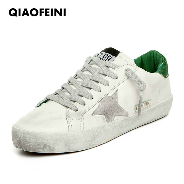 5af1f8650ac 2018 Women Casual Shoes Leather Do Old Dirty Shoes Mixed Color Women  Sequins Star tenis feminino sneakers women big size 35-43